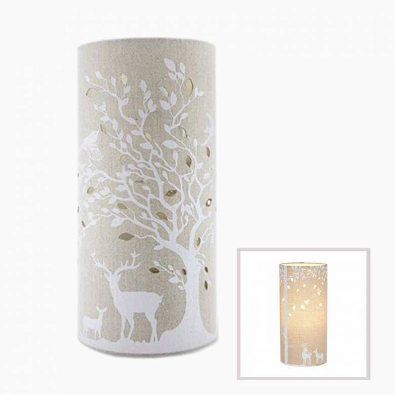 Deers - Cylindrical Fabric Lamp