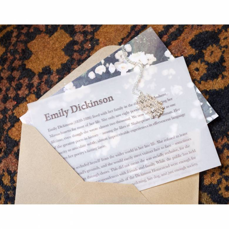 Emily Dickinson Dogs - Silver Quote Necklace By Ordbord