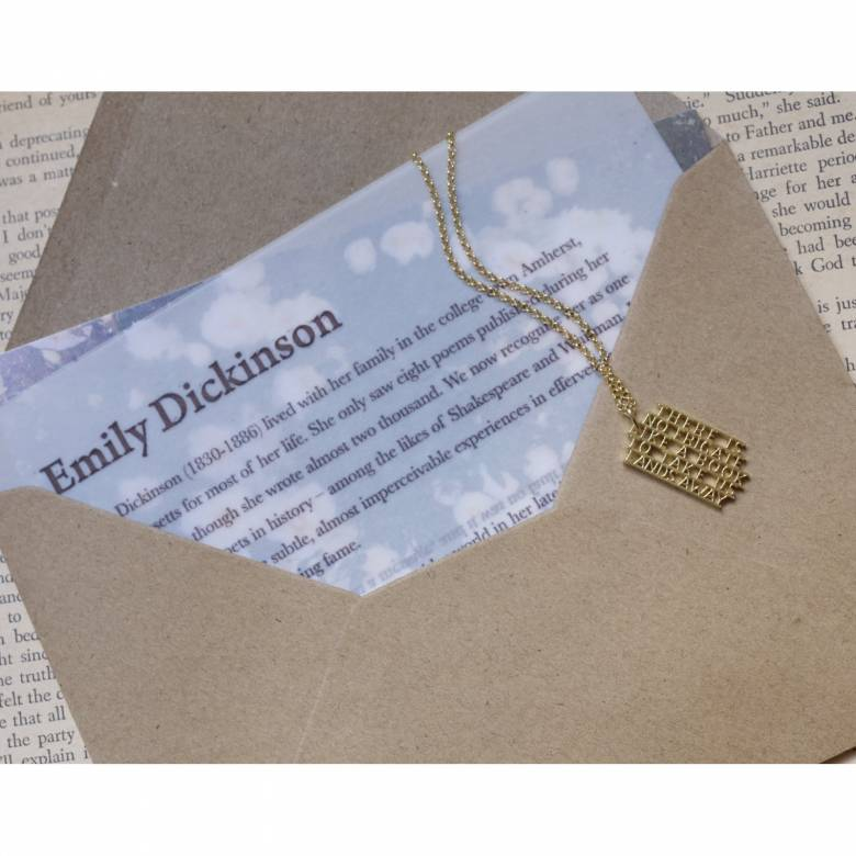 Emily Dickinson - Frigate Gold Quote Necklace By Ordbord