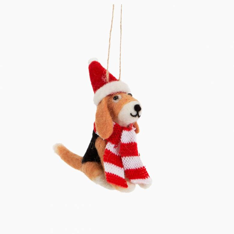 Dog With Hat And Scarf Felt Christmas Decoration