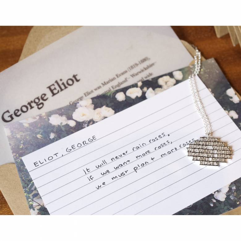 George Eliot - Roses Silver Quote Necklace By Ordbord
