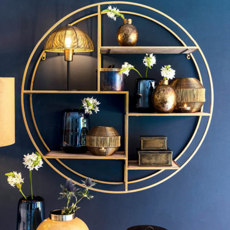 Extra Large Circular Shelves In Gold D:92cm