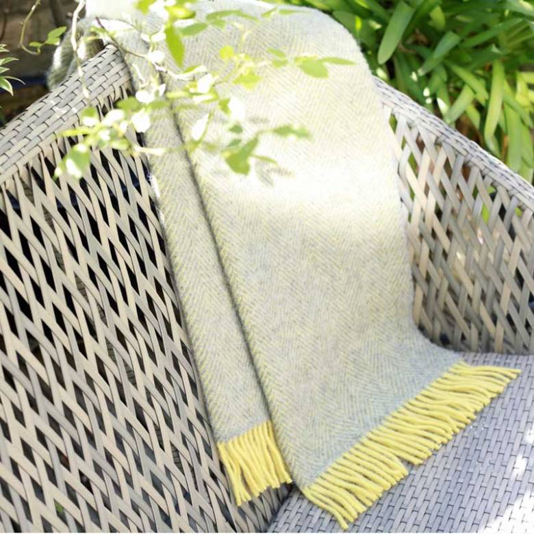 Silver Grey Lemon Herringbone KNEE Blanket 70x183cm