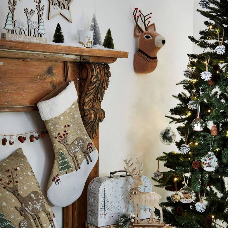 Folk Deer Christmas Stocking