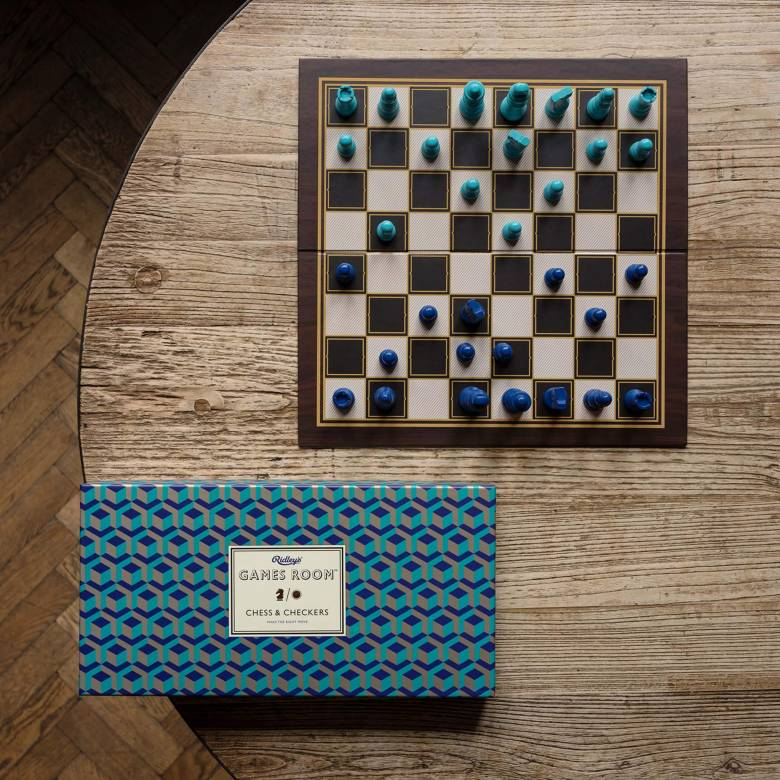 Chess And Draughts Set In Retro Packaging