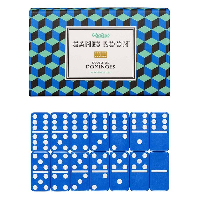 Set Of Dominoes In Blue and Turquoise Box