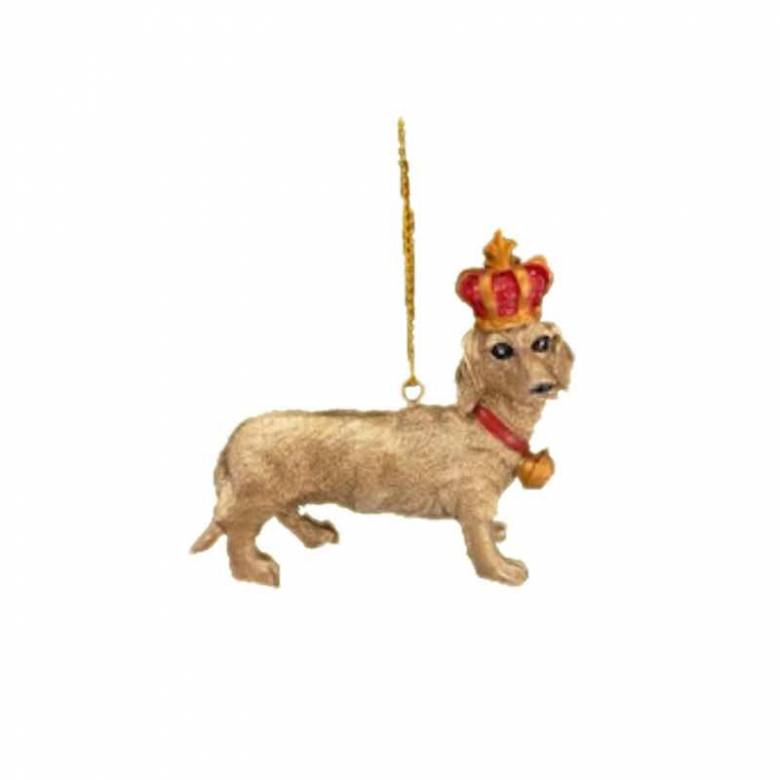 Gold Dachshund Dog With Crown Resin Christmas Decoration