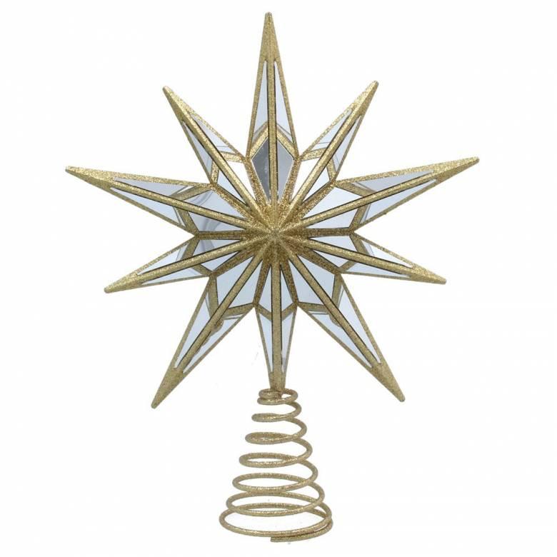 Gold Glitter Mirrored Star Christmas Tree Topper