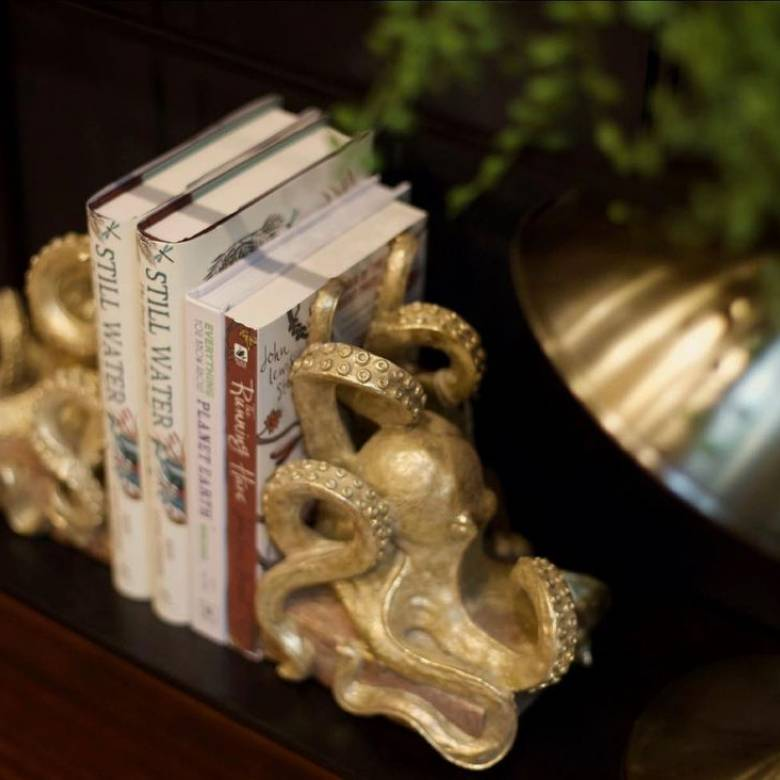 Gold Octopus Bookends - Pair