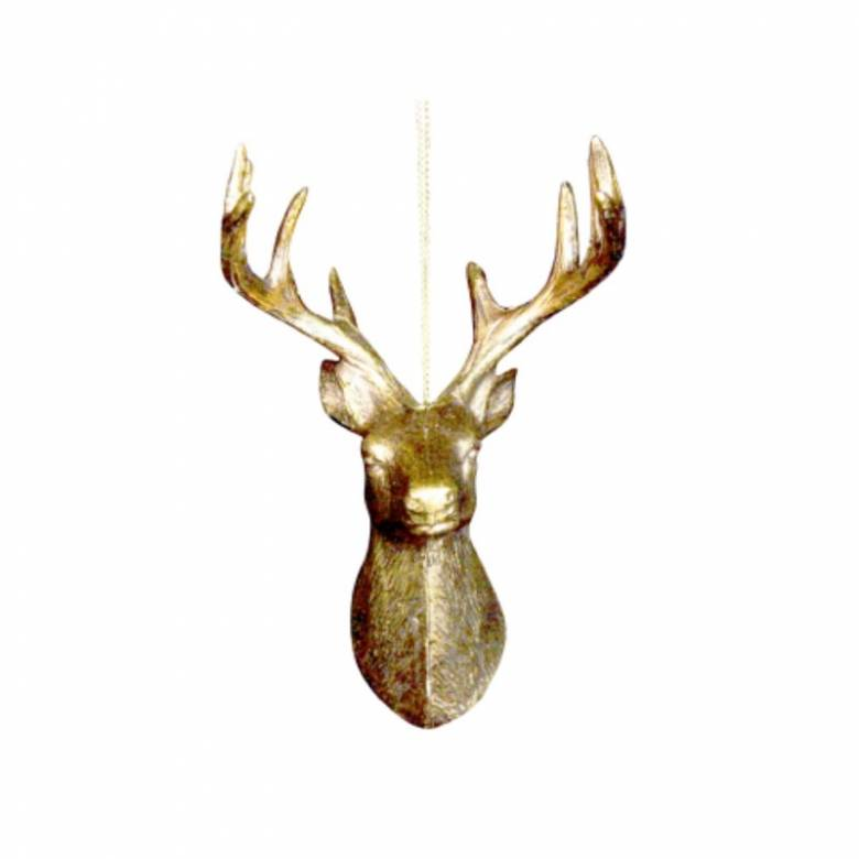 Gold Stag Head Hanging Christmas Decoration