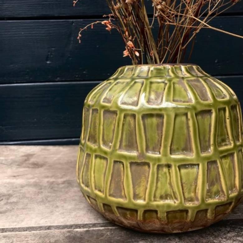 Green Deco Vase 16.5 x 19.5cm