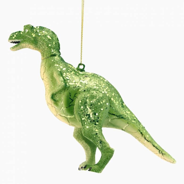Green Glass Dinosaur Christmas Decoration By Gisela Graham