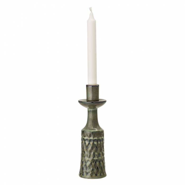 Green Patterned Stoneware Candlestick
