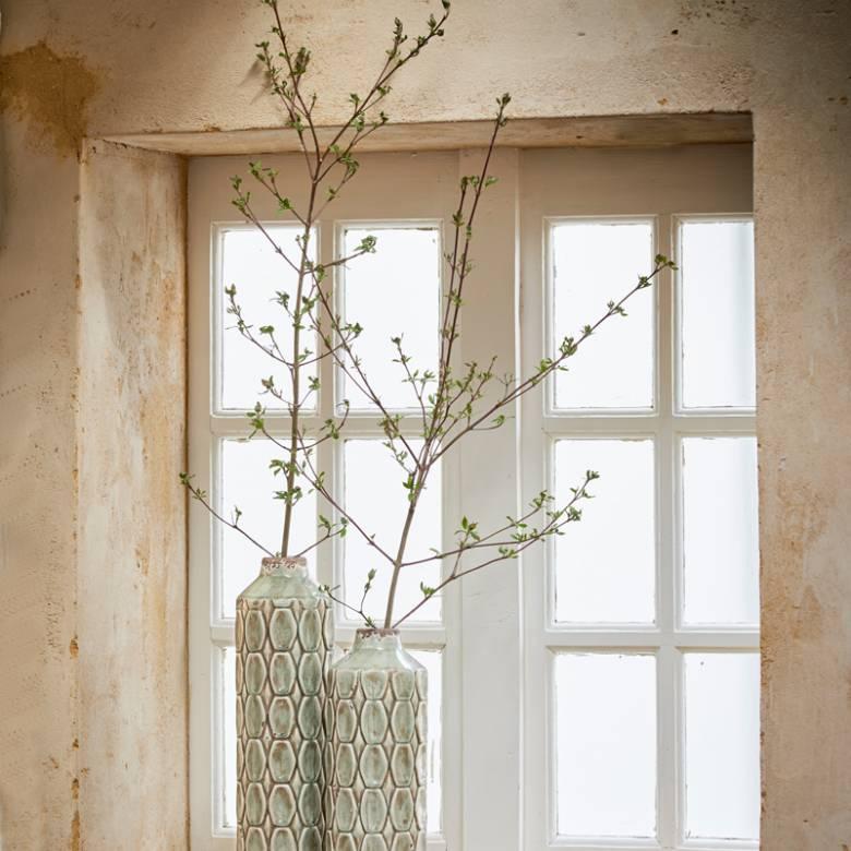 Grey Green Textured Tall Ceramic Decorative Vase