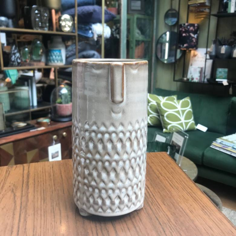 Tall Beige Stoneware Face Imprint Vase 21.5cm