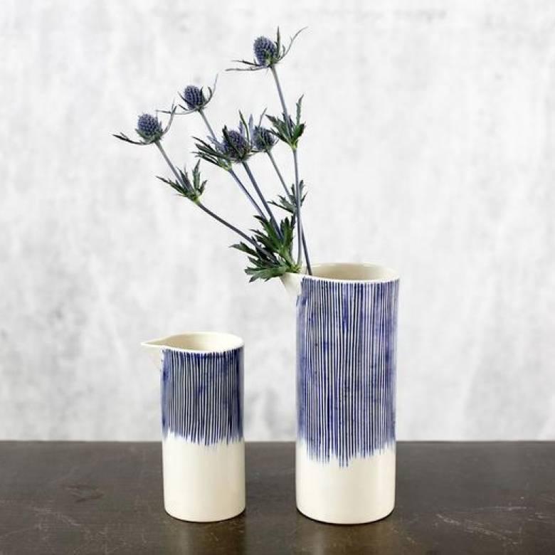 Karuma Ceramic Jug Blue & White 7x7x15cm