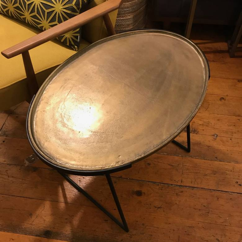 Large Oval Side Table In Antique Bronze