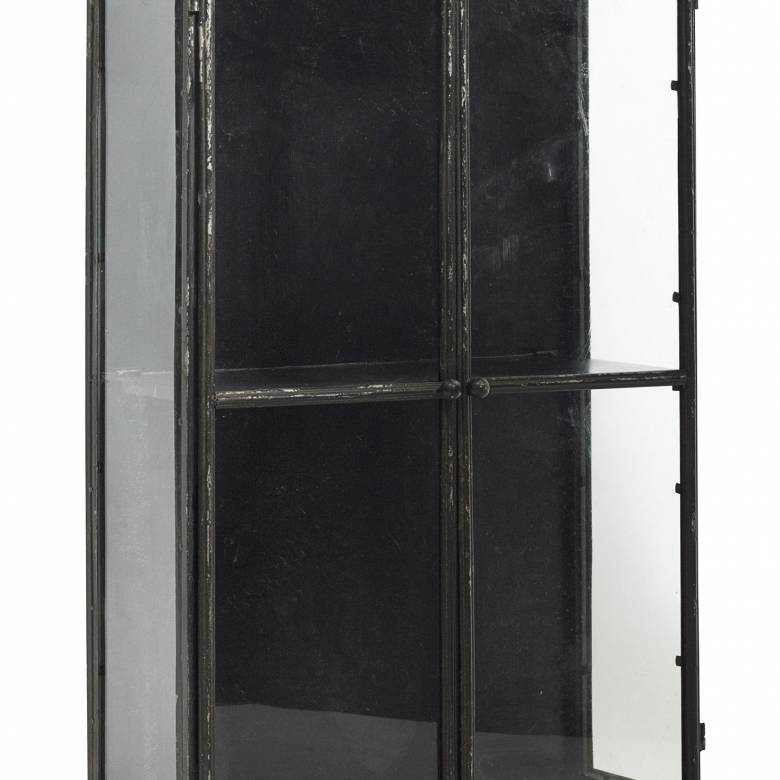 Large Black Glazed Metal Wall Cabinet With Glass 54x23x81cm