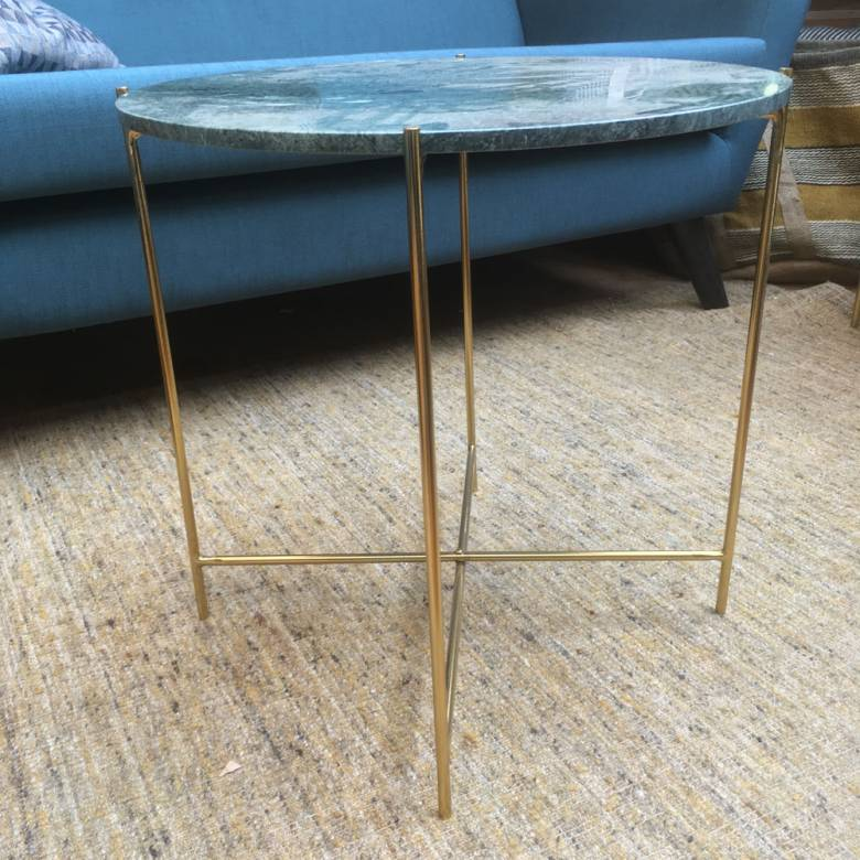 Large Circular Green Marble Table With Gold Legs