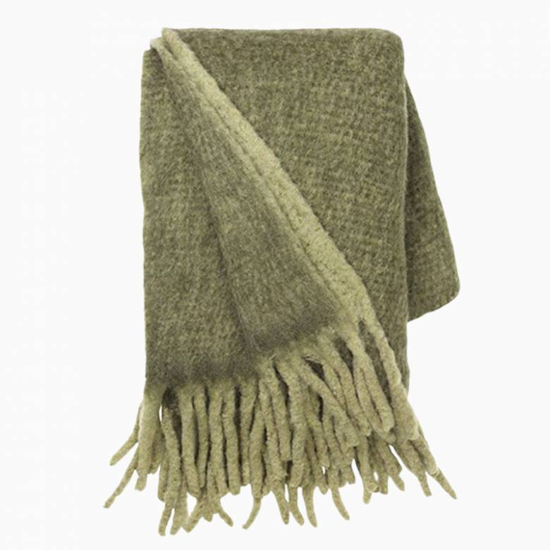 Large Mathea Blanket Throw In  Olive