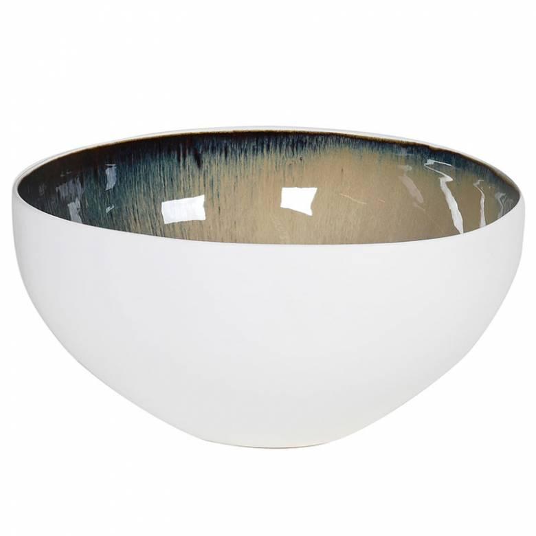 Large White Bowl With Blue Glazed Inner