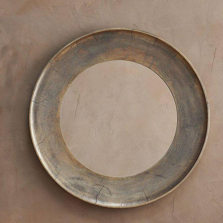 Large Circular Yakira Mirror In Antique Brass Finish