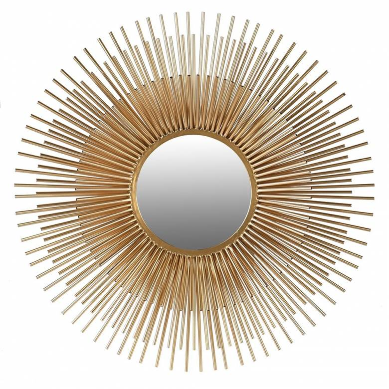 Layered Metal Tubular Sunburst Mirror In Gold