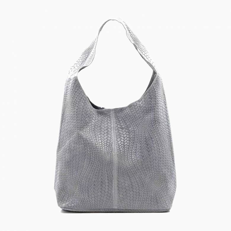 Leather Woven Large Handbag - Light Grey