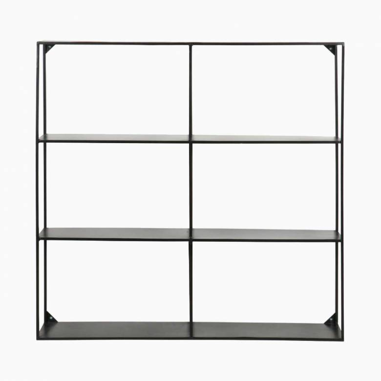 Meert Wall Shelf Black Metal 6 Slot