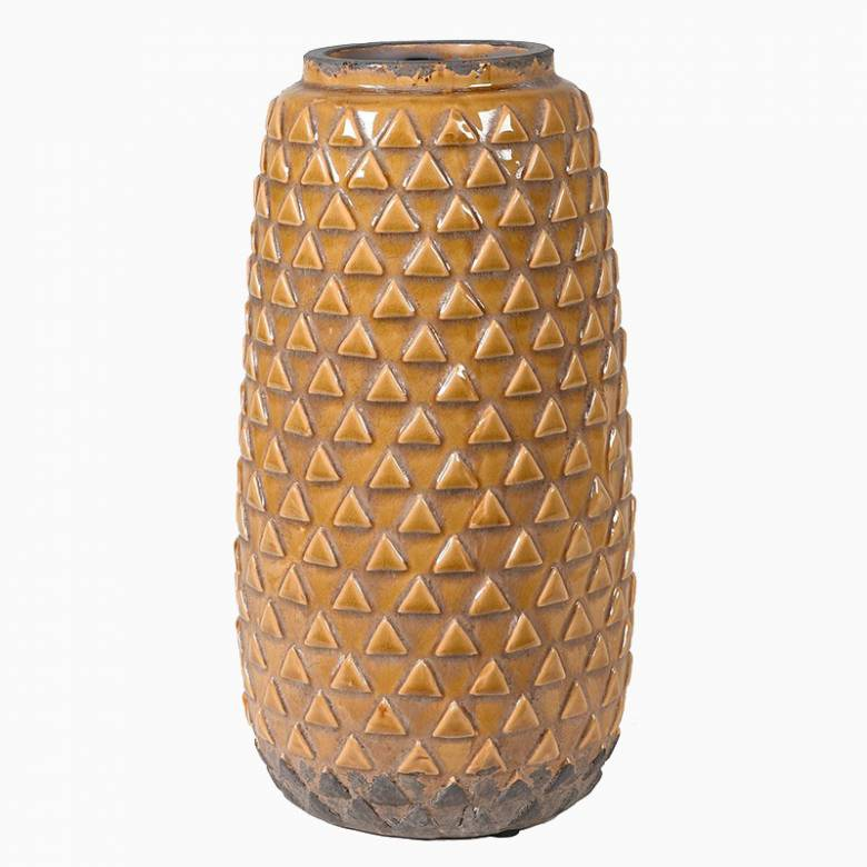 Mustard Triangular Patterned Vase 34.5cm
