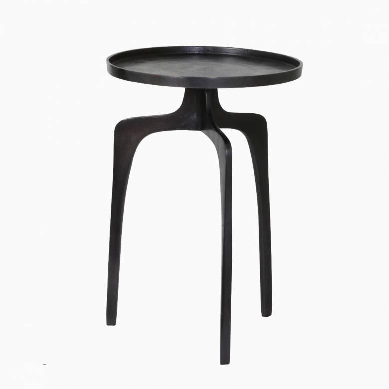 Neila 3 Leg Side Table In Black Bronze Metal 38x54cm