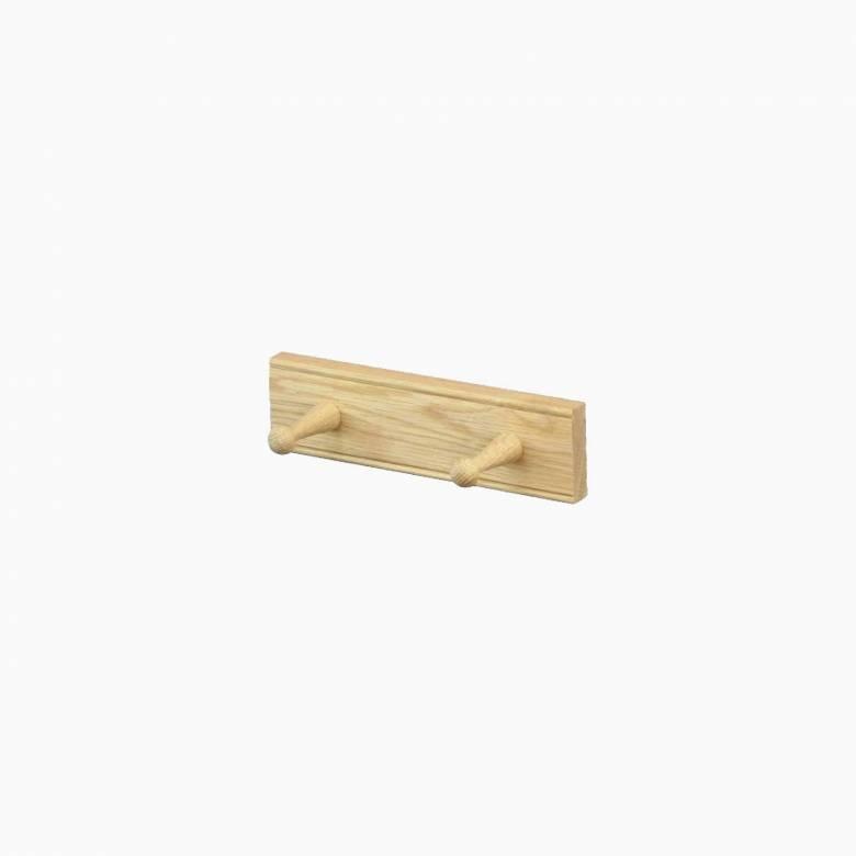 Oak 2 Peg Rail Shaker Style 25.5cm x 9cm x 7cm