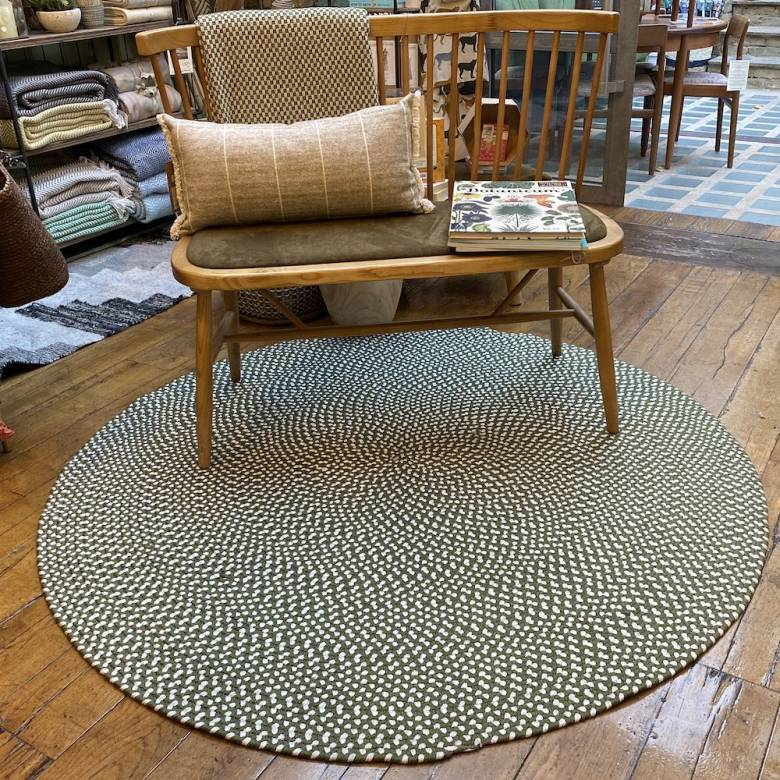 Olive Round Braided Rug Recycled Plastic 152cm