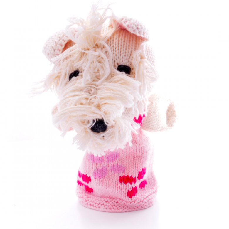 Scottie Dog Girl Hand Knitted Soft Toy Organic Cotton