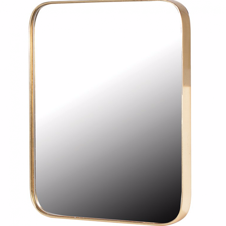 Gold Rectangular Mirror With Curved Frame 51x60cm