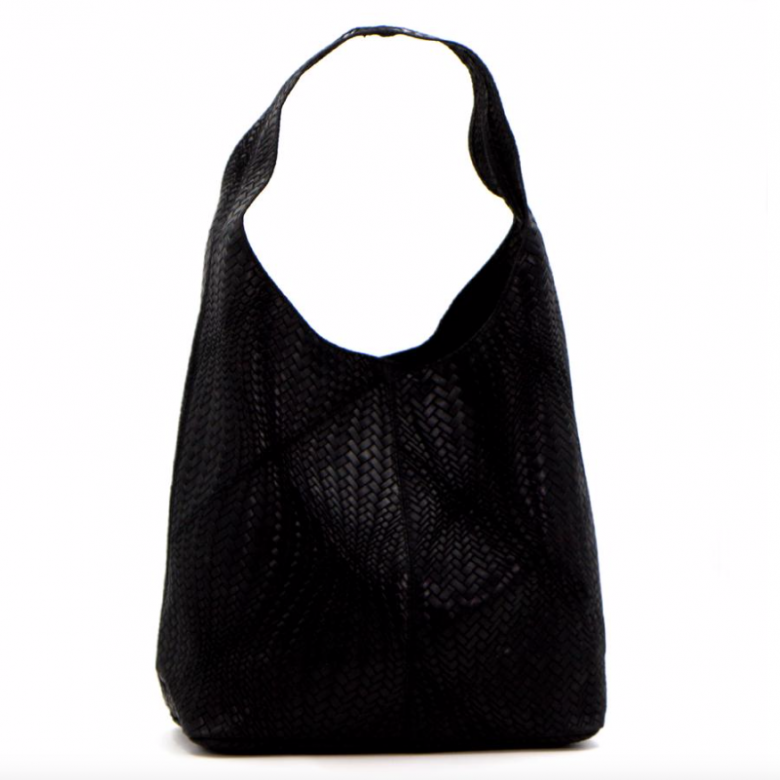 Leather Woven Large Handbag - Black