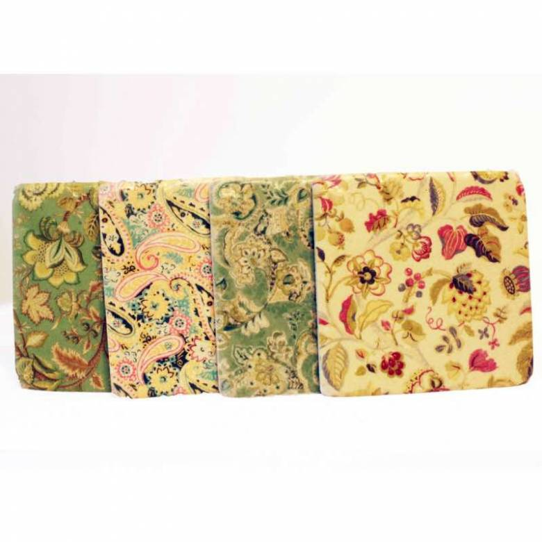 Set Of 4 Floral Patterned Coasters