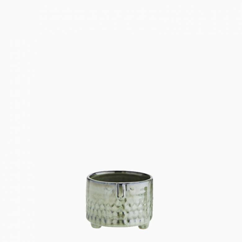 Short Green Stoneware Face Flowerpot 9.5cm
