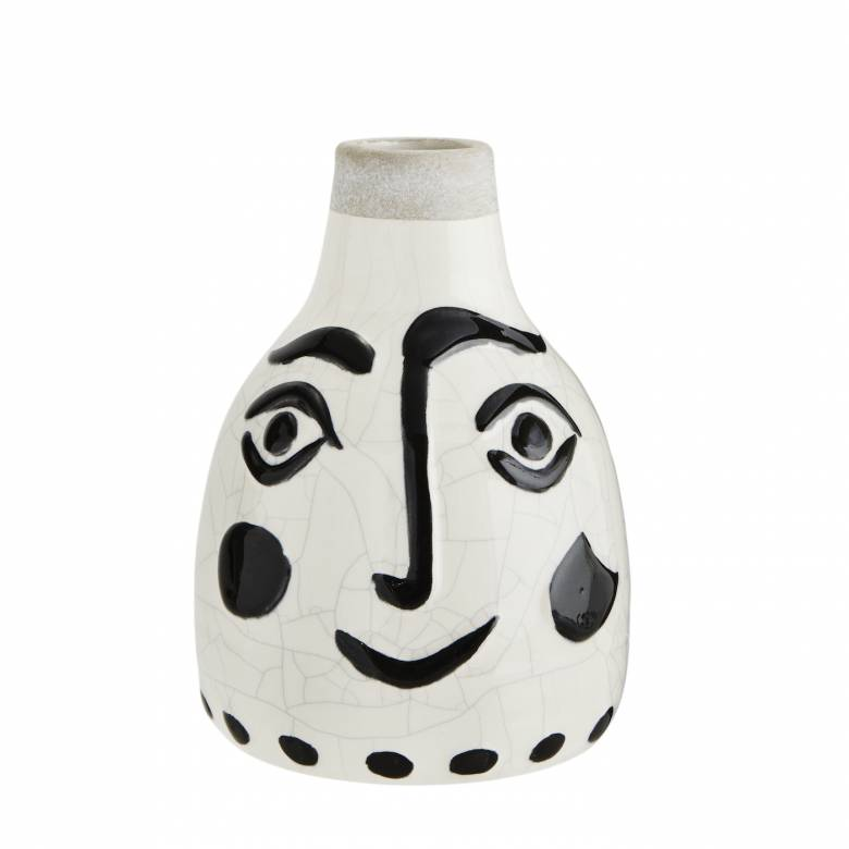 Small Painted Face Vase Black And White