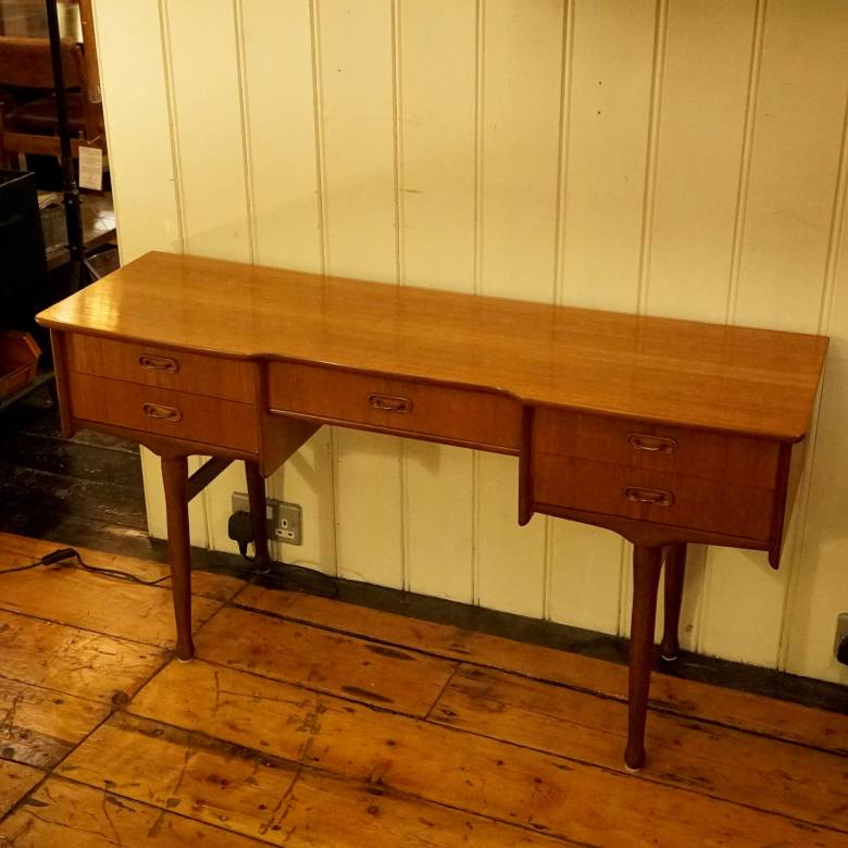 Mid Century Low Teak Dressing Table With 5 Drawers