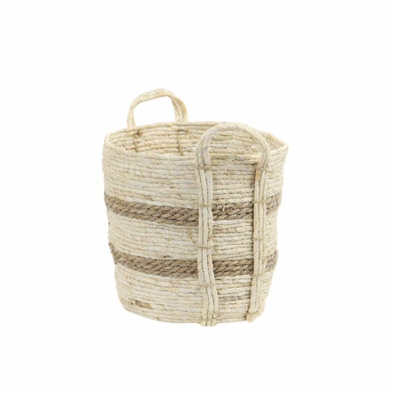 Small White Basket With Brown Stripes With Handles H: 30cm