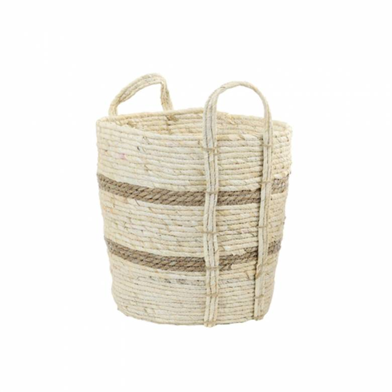 Medium White Basket With Brown Stripes With Handles H: 35cm