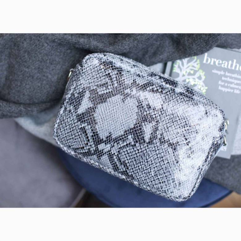 Snake Print Double Zip Cross Body Bag In Light Grey