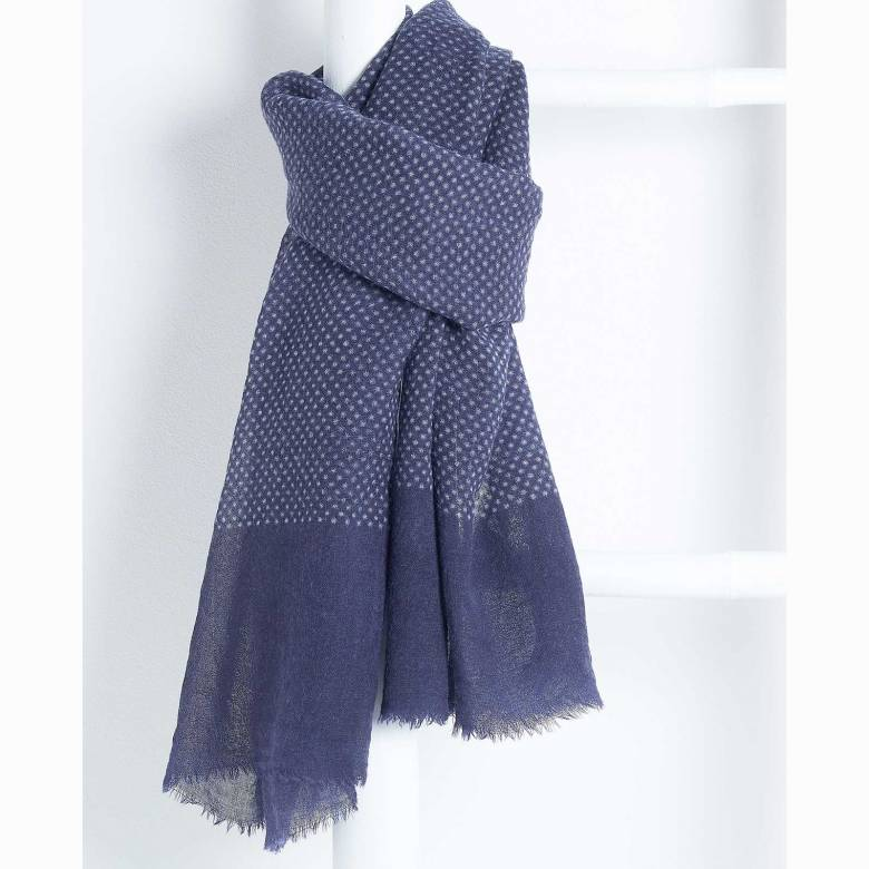 Southwold Navy Fine Wool Scarf By Jo Edwards