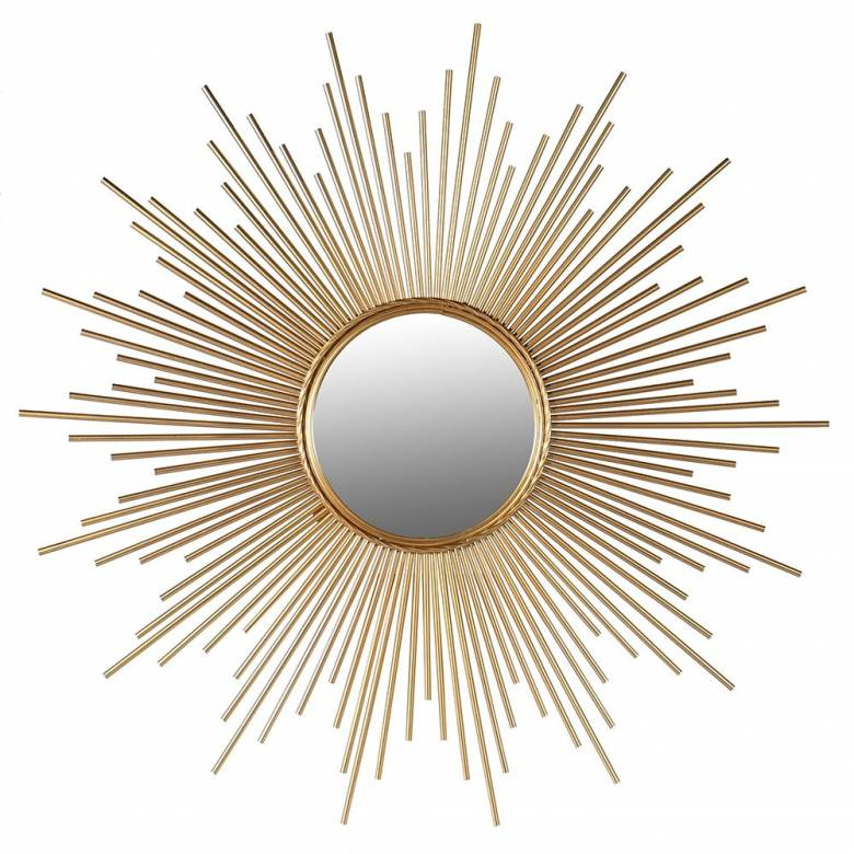 Star Shaped Tubular Sunburst Mirror In Gold