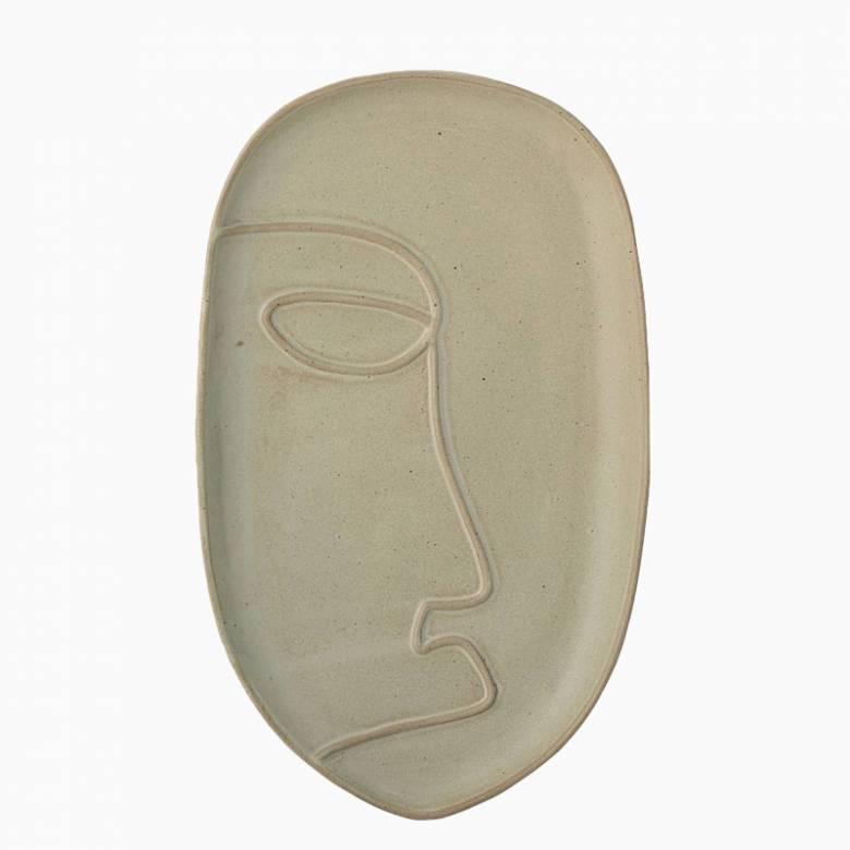 Stoneware Face Imprint Tray Dish In Green