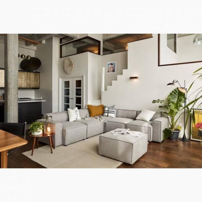 Swyft - Model 03 - Corner Sofa With Ottoman - Linen Shadow