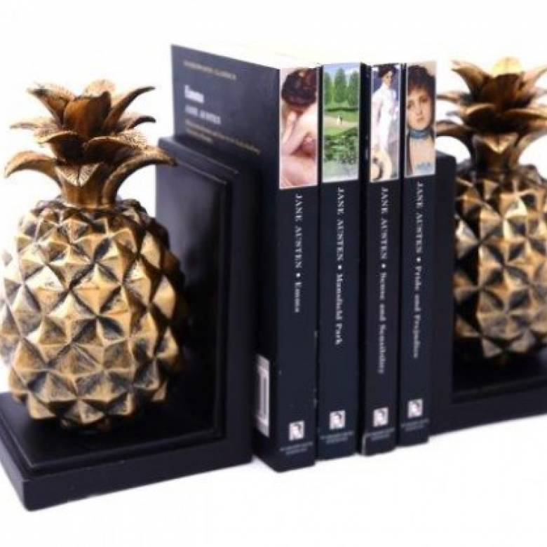 Pair Of Gold Pineapple Bookends