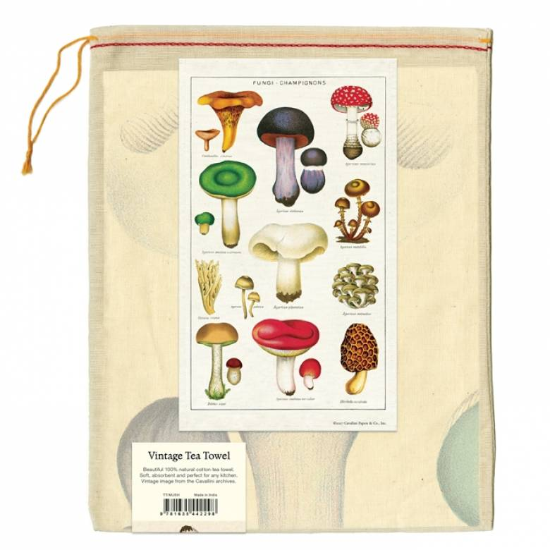 Fungi Champignion Mushrooms Cotton Tea Towel With Gift Bag