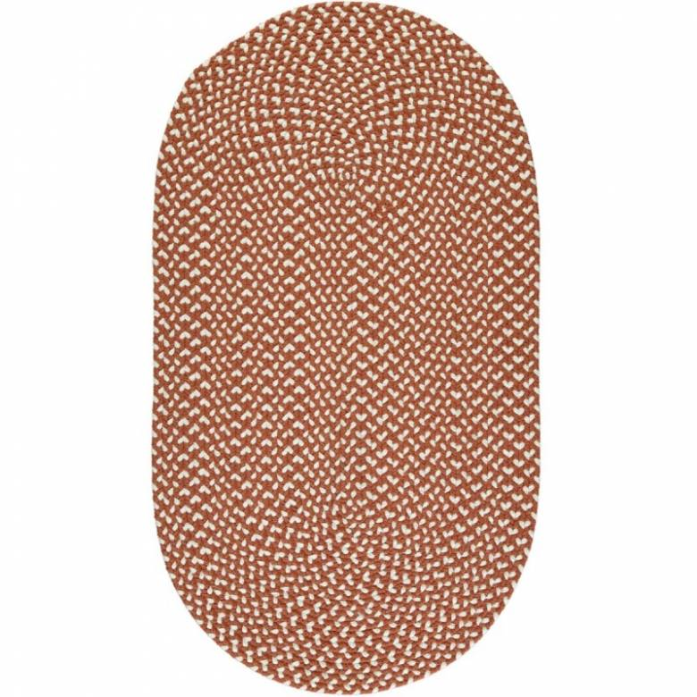 Terracotta Oval Braided Rug Recycled Plastic 61x91cm